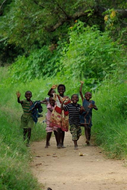 School Children running in Zambia